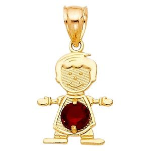 14kY Gold January Birthstone CZ Boy Pendant